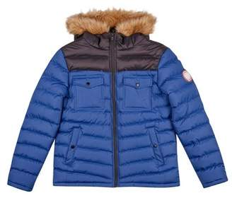 Burton Mens Blue Two Tone Lightweight Hooded Puffer Jacket