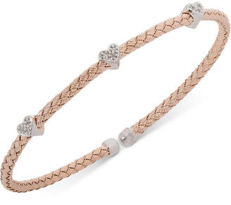 Giani Bernini Heart Cz Weave Bangle Stack Bracelet in Sterling Silver, 18K Gold-Plated or Rose Gold-Plated Sterling Silver, Created for Macy's