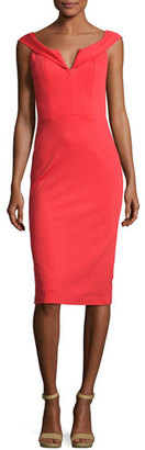Alice + Olivia Sienna Off-the-Shoulder Sheath Dress, Bright Red $330 thestylecure.com