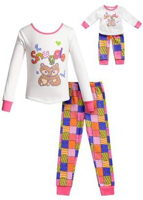 Dollie & Me Snuggle Bears Long Sleeves Snug Top and Pajama - 2 -Piece Outfit with Matching Doll Set (Little Girls and Big Girls)