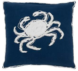 "Shiraleah Beaufort Crab Pillow- 17"" x 17\"" - Navy"