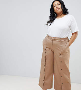 Asos DESIGN Curve wide leg trousers with button front
