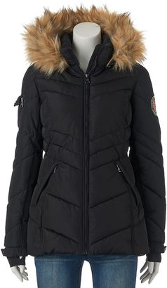 Juniors' Madden Girl Hooded Faux-Fur Puffer Jacket $100 thestylecure.com