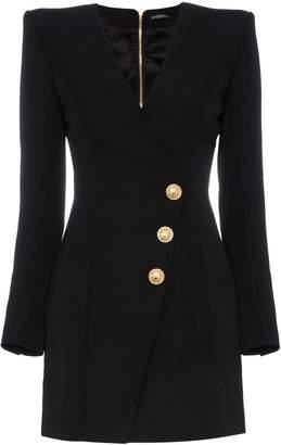 Balmain plunge neck button dress