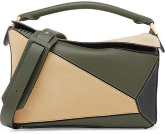 Loewe Puzzle Color-block Suede And Leather Shoulder Bag - Green