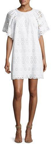 Kate Spade New York Short-Sleeve Eyelet Shift Dress, White