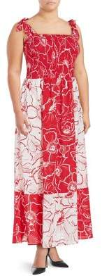 Gabby Skye Plus Smocked Floral Maxi Tied Dress