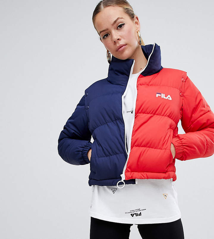 Padded Jacket With Removable Sleeves In Colour Block
