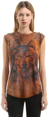 Balmain Wolf Print Cotton Jersey Sleeveless Top