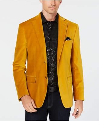 Tallia Men's Slim-Fit Yellow Velvet Sport Coat