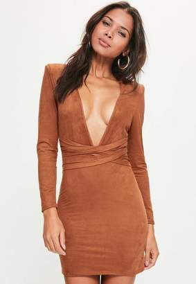 Missguided Orange Faux Suede Belt Detail Bodycon Dress