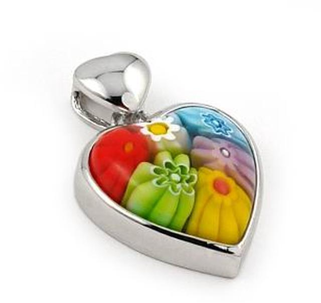 Sterling Silver Multicolor Millefiori Heart Pendant by Alan K