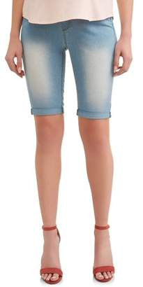 fb2275b3682 Oh! Mamma Maternity Roll Cuff Underbelly Bermuda Denim Shorts - Available  in Plus Sizes
