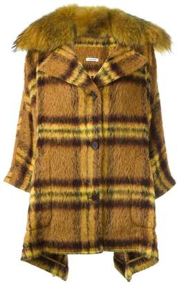 P.A.R.O.S.H. checked mid-length coat