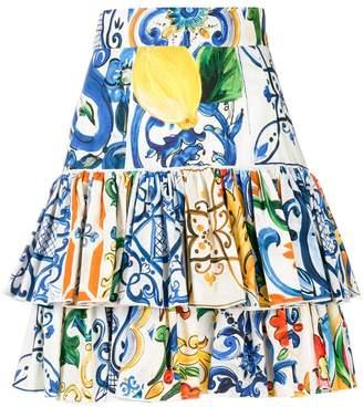 Dolce & Gabbana Majolica print ruffled skirt