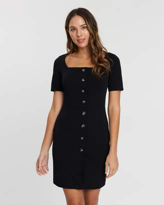 Dorothy Perkins Button-Through Square Neck Body-Con Dress