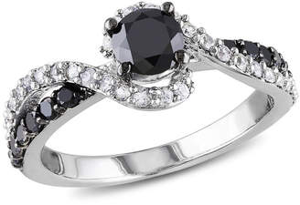 Black Diamond MODERN BRIDE Womens 3/4 CT. T.W. Color Enhanced Round & Lab Created White Sapphire Sterling Silver Engagement Ring