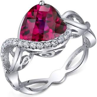 Oravo 4.00 Carat Created Ruby Rhodium-Plated Sterling Silver Engagement Ring