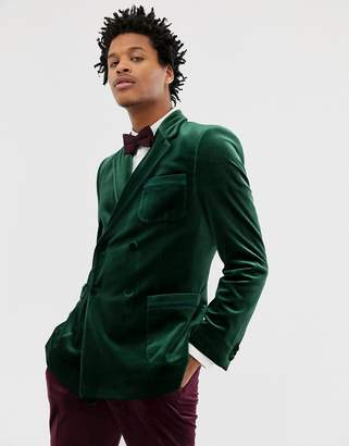 Asos DESIGN skinny double breasted blazer in forest green velvet with piping