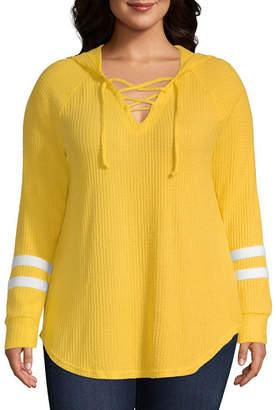 Flirtitude Long Sleeve Knit Hoodie-Juniors Plus