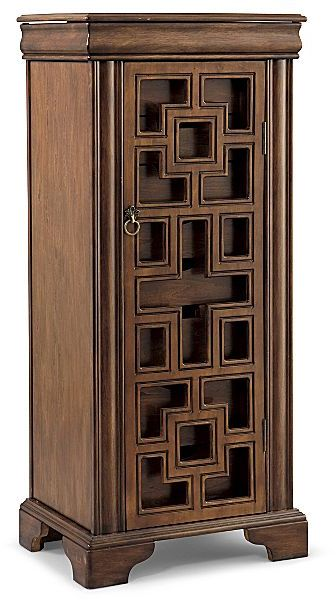 Lt. Walnut Cut-out with Glass Armoire
