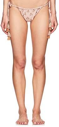 She Made Me Women's Marigold-Print String Bikini Bottom