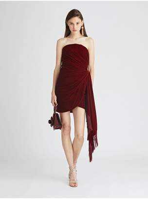 Oscar de la Renta Draped Velvet Cocktail Dress