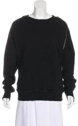 Pierre Balmain Zipper Accent Rib-Knit Trim Sweatshirt