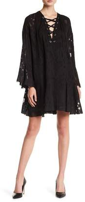 IRO Lace-Up Bell Sleeve Sheer Mesh Inset Dress