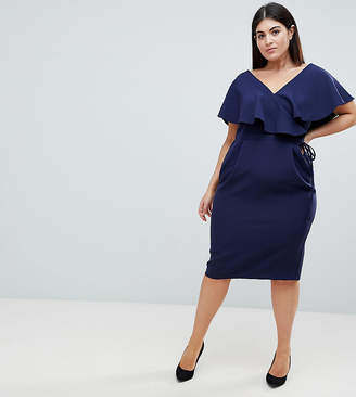Asos DESIGN Curve Ruffle Wrap Midi Dress