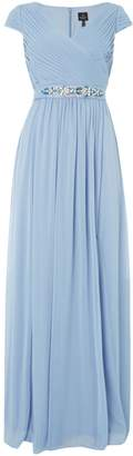 Adrianna Papell V neck cap sleeve gown with embellished waist