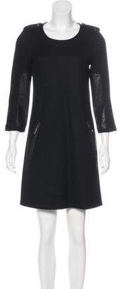 Burberry Leather-Accented Knee-Length Dress