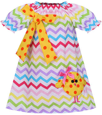 Mia Belle Girls Easter Themed Chevron Dotted Bow & Chick Cotton Dress