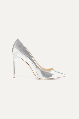 Jimmy Choo Romy 100 Mirrored-leather Pumps - Silver