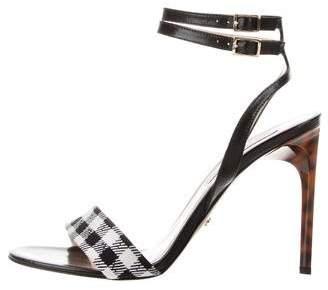 Diane von Furstenberg Gingham Ankle Strap Sandals