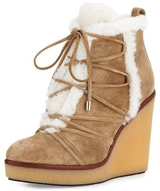 Moncler Osja Shearling Wedge Bootie, Stone Brown $740 thestylecure.com