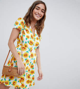 Glamorous Petite Button Down Tea Dress In Sunflower Print