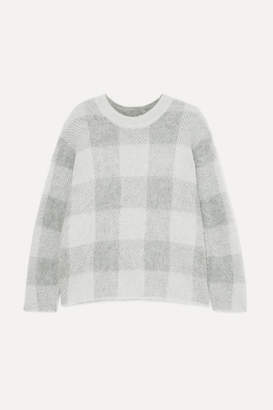 Vince Checked Knitted Sweater - Gray