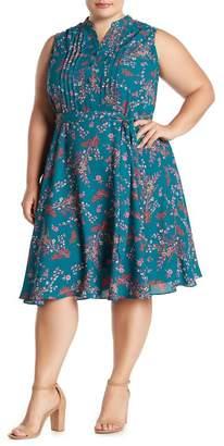 Nanette Lepore NANETTE Sleeveless Floral Print Pintuck Pleat Dress (Plus Size)