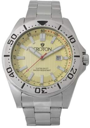Croton Men's Stainless Bracelet Watch with Pineapple Dial & Rotating Bezel