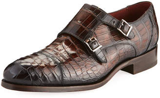 Magnanni Men's Alligator & Leather Double Monk Dress Shoes