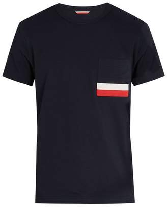 Moncler Striped Patch Pocket Cotton T Shirt - Mens - Navy