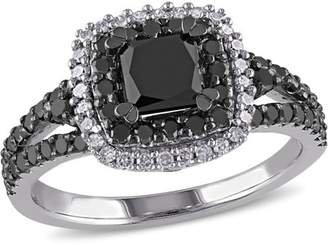 Asteria 1-1/2 Carat T.W. Princess with Round-Cut Black and White Diamond Sterling Silver Double Halo Engagement Ring