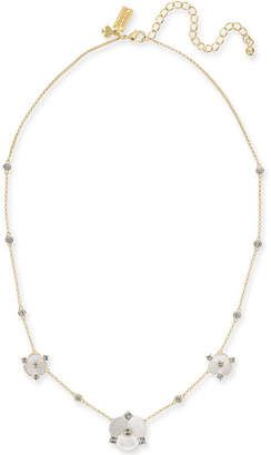 """Kate Spade Gold-Tone Crystal & Imitation Mother-of-Pearl Flower Collar Necklace, 16"""" + 3"""" extender"""