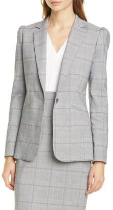 Rebecca Taylor Tailored by Summer Check Puff Sleeve Linen Blend Suit Jacket