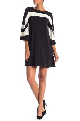 Nina Leonard 3/4 Sleeve Stripe Dress