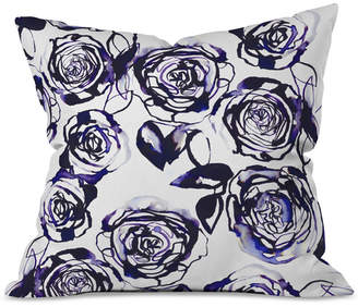 Deny Designs Holly Sharpe Inky Roses Throw Pillow