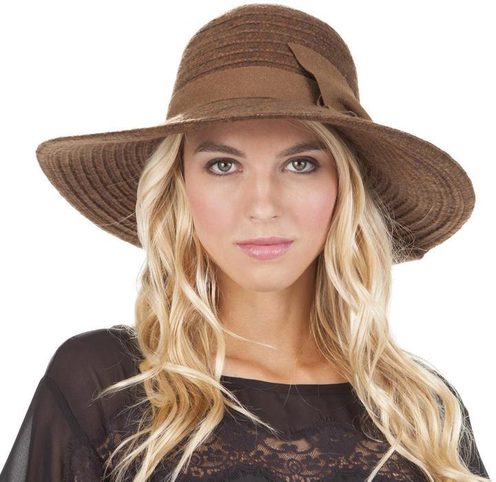 Jessica Simpson Boucle Cafe Au Lait Bow Floppy Hat