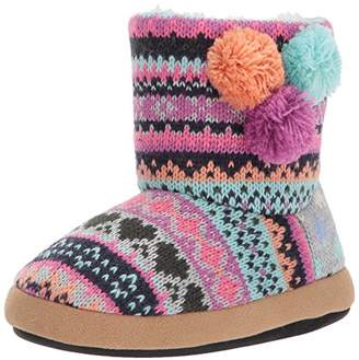 Dearfoams Girls' Patterned Sweater Knit Bootie