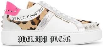 Philipp Plein star studded leopard print sneakers